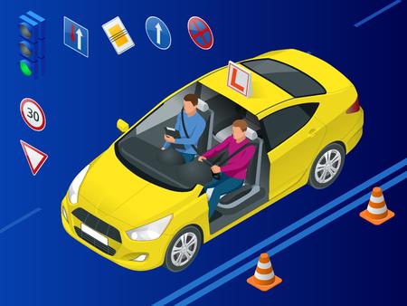 Concetto di scuola guida isometrica. Istruttore di guida e studente uomo in macchina d'esame. Illustrazione vettoriale.