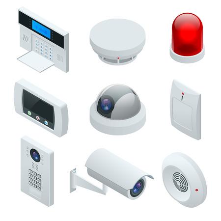 Maison de système d'alarme isométrique. Sécurité à domicile. Clavier d'alarme de sécurité avec personne armant le système. Accès, zones d'alarme, illustration vectorielle du panneau du système de sécurité