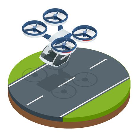 Isometrischer moderner futuristischer Fluggastverkehr. Lufttaxi. Moderne unbemannte Elektroflugzeuge isoliert auf weißem Hintergrund. Vektor-Illustration