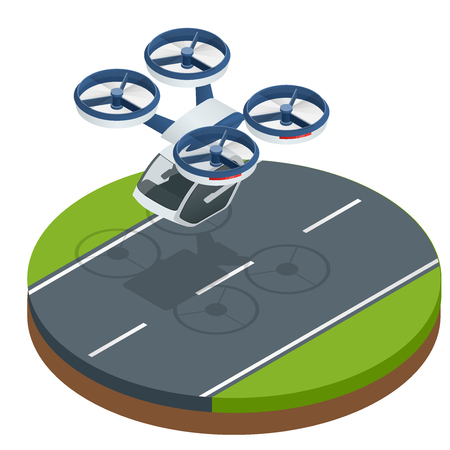 Transport de passagers aérien futuriste moderne isométrique. Taxi aérien. Avions électriques sans pilote modernes isolés sur fond blanc. Illustration vectorielle