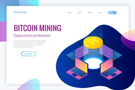 Isometric bitcoin mining concept. Cryptocurrency and Blockchain concept. Farm for mining bitcoins. Digital money market, investment, finance and trading. Vector illustration.