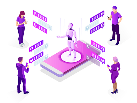 Isometric artificial intelligence concept. AI and business IOT concept. Man communicating with chatbot via instant messenger as an example of artificial intelligence. Vector illustration Vector Illustration