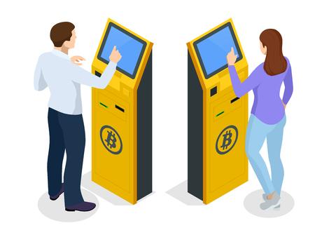 Cajero automático Bitcoin moderno isométrico. Dispensador de efectivo de criptomonedas. Compra y venta de bitcoins, una de las criptomonedas de la nueva era. Ilustrador de vectores.