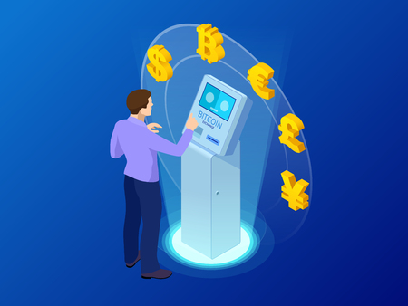 Isometric modern Bitcoin ATM. Cryptocurrency cash dispenser. Buying and selling bitcoins, one of new era cryptocurrency. Vector Illustrator.