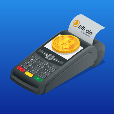 Isometric payment machine, paying by Bitcoin to pay a bill. NFC payments. POS terminal confirms the payment. Vector Illustrator.