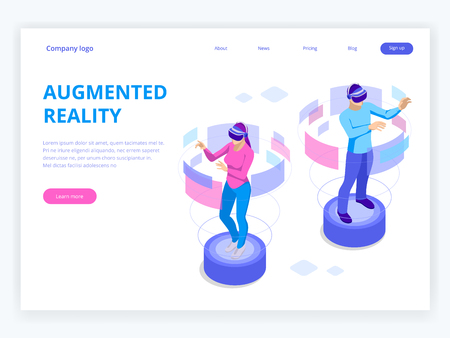 Isometric Man and woman wearing virtual reality goggles. Augmented realty concept. Man wearing goggle headset with touching vr interface. Into virtual reality world. Future technology. Illustration