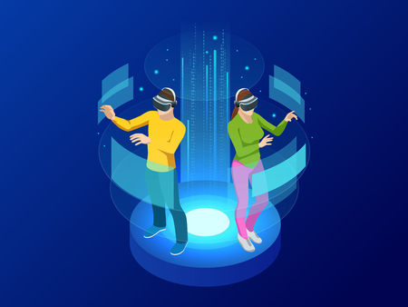 Isometric Man and woman wearing virtual reality goggles. Augmented realty concept. Man wearing goggle headset with touching vr interface. Into virtual reality world. Future technology. Vektorové ilustrace