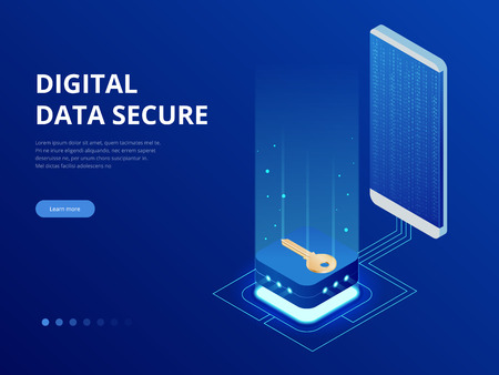 Isometric internet security lock transferring data from a smartphone to database concept. Hacking smartphone user database. Internet security shield business. Illusztráció