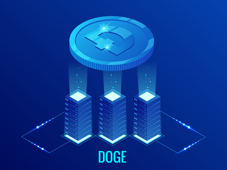 Isometric Dogecoin DOGE Cryptocurrency mining farm. Blockchain technology, cryptocurrency and a digital payment network for financial transactions. Abstract blue background