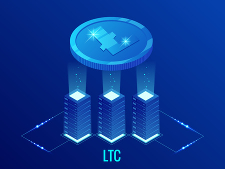 Isometric Litecoin LTC Cryptocurrency mining farm. Blockchain technology, cryptocurrency and a digital payment network for financial transactions. Abstract blue background
