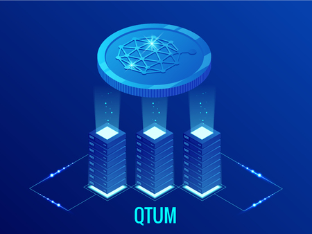 Isometric QTUM Cryptocurrency mining farm. Blockchain technology, cryptocurrency and a digital payment network for financial transactions. Abstract blue background.