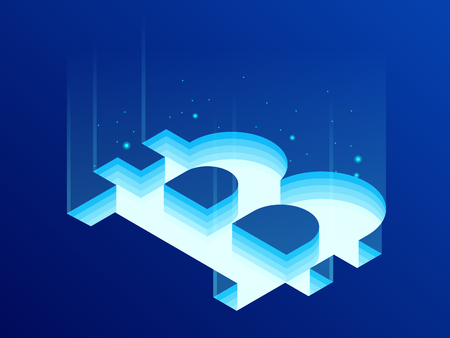 Isometric Bitcoin BIT Cryptocurrency mining farm. Blockchain technology, cryptocurrency and a digital payment network for financial transactions. Abstract blue background.