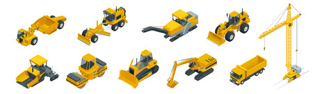 Isometric icons set of construction equipment and machinery with trucks crane and bulldozer. Isolated vector Building machines for construction illustration on white