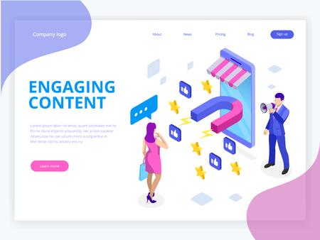 Banner web isometrico con contenuti coinvolgenti, successo nel marketing dei contenuti, mix di marketing. Influenzatore sociale. Condivisione sui social media