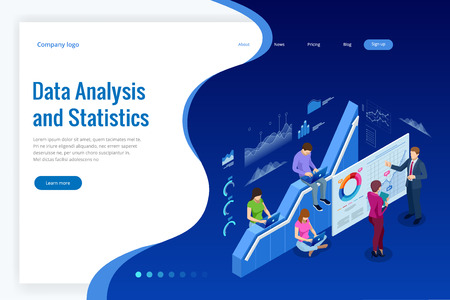 Isometric web banner Data Analysis and Statistics concept. Vector illustration business analytics, Data visualization. Technology, Internet and network concept. Data and investments Illustration