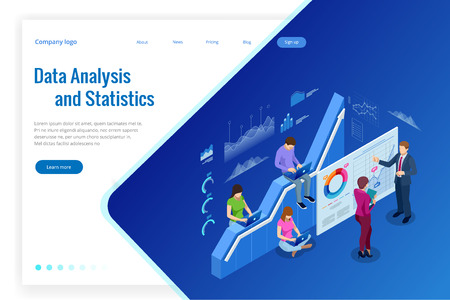 Isometric web banner Data Analysis and Statistics concept. Vector illustration business analytics, Data visualization. Technology, Internet and network concept. Data and investments Ilustrace