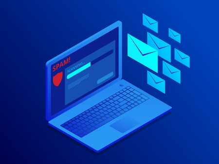 Isometric website banner of e-mail protection, anti-malware software. Email Spamming Attack. Antivirus software, anti-malware, spyware, trojan, adware as internet security.