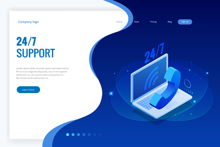 Web page design templates for call center support 24-7. Isometric 24 hours open customer service. Vector illustration Customer Service, Support or CRM. Ilustração
