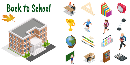 Isometric education icons set. Back to school, workplace, school kids and other elements. Vector illustration