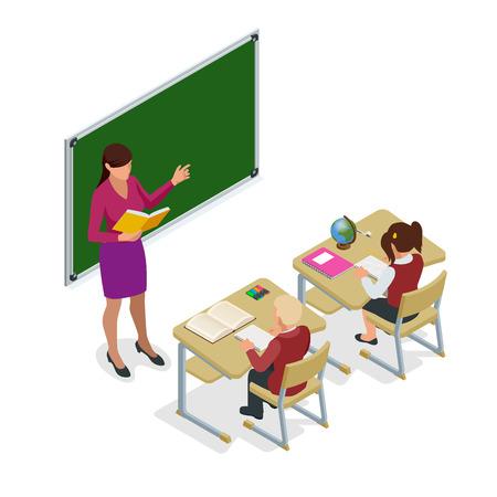 Isométrique écoliers en classe à la leçon. Salle de classe pour l'étude. Enseignant debout au tableau. Illustration vectorielle