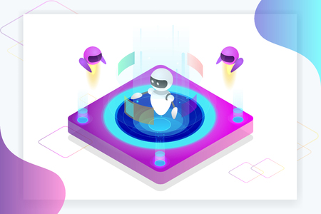 Isometric Artificial Intelligence concept. Technology and engineering. Teaching and Learning in Digital World. Digital and technology background. Vector illustrations.