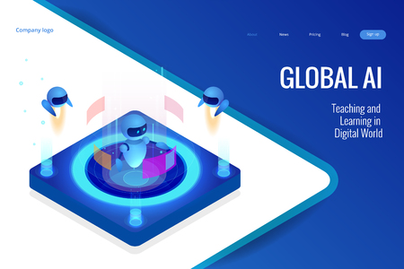 Isometric Artificial Intelligence concept. Technology and engineering. Teaching and Learning in Digital World. Digital and technology background
