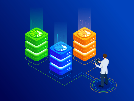 Isometric Big Data server room with bright equipment and businessman working on digital tablet. Hosting server or data center room