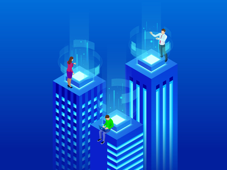 Isometric Intelligent buildings. Smart city concept. Business center with skyscrapers connected to the computer network.