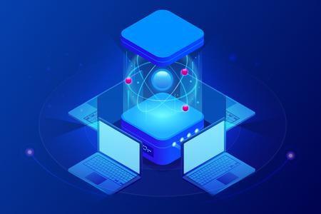 Calcolo quantistico isometrico o supercalcolo. Un computer quantistico è un dispositivo che esegue il calcolo quantistico. Illustrazione vettoriale
