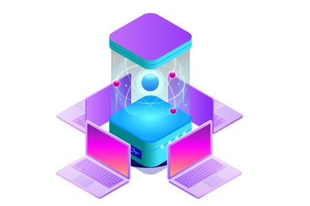 Isometric Quantum computing or Supercomputing. A quantum computer is a device that performs quantum computing. Vector illustration Standard-Bild - 108437001