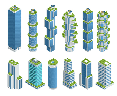 Isometric set of Modern Ecologic Skyscraper with many trees on every balcony. Ecology and green living in city, urban environment concept. Foto de archivo - 108437005