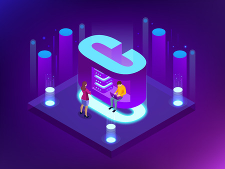 Isometric vector abstract Big Data visualization. Futuristic C letter design. Visual information complexity. Social network or business analytics representation. Illustration