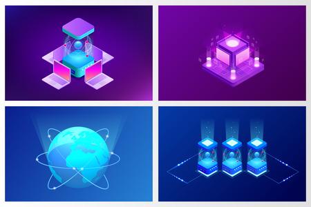 Isometrische Quantum computing of Supercomputing. Een kwantumcomputer is een apparaat dat kwantumcomputers uitvoert. Vector illustratie. Vector Illustratie