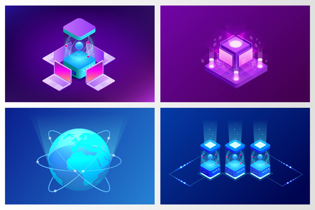 Isometric Quantum computing or Supercomputing. A quantum computer is a device that performs quantum computing. Vector illustration. Illustration