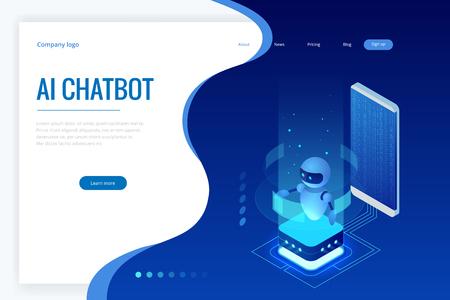Inteligencia artificial isométrica. Chatbot y marketing futuro. Concepto de IOT de IA y negocios. Servicio de ayuda de diálogo. Ilustración de vector.