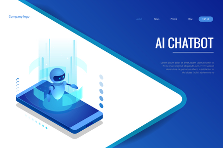 Isometric Artificial Intelligence. Chatbot and future marketing. AI and business IOT concept. Dialog help service. Vector illustration 向量圖像