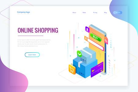 Isometrischer Vektor Online-Shopping-Konzept. Landingpage-Vorlage. Modernes ultraviolettes Design für eine Webseite. Verkauf, Konsum, Online-Kauf und E-Commerce-Konzept.