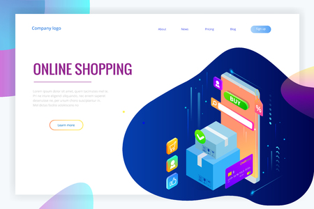 Isometric vector Online shopping concept. Landing page template. Modern ultraviolet design for a web page. Sale, consumerism, buy online and e-commerce concept Vektorové ilustrace