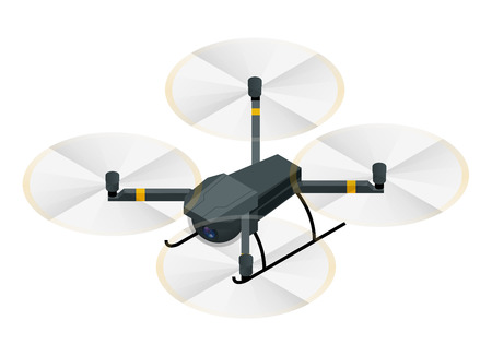 Isometric Electric wireless RC quadcopter drone with video and photo camera for aerial photography isolated on white background vector illustration.