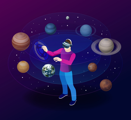 Isometric man in virtual reality glasses looks at the planets of the solar system. Sun, Mercury, Venus, planet earth, Mars, Jupiter, Saturn, Uranus, Neptune. Science and education vector background