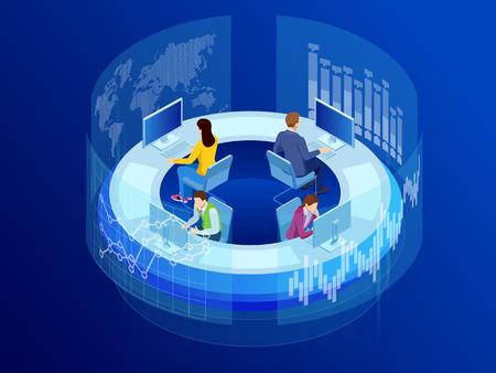 売上および運用データ統計グラフと主要業績評価指標の概念を示す仮想画面のアイソメトリックビジネスデータ分析プロセス管理またはインテリジェンスダッシュボード ベクターイラストレーション