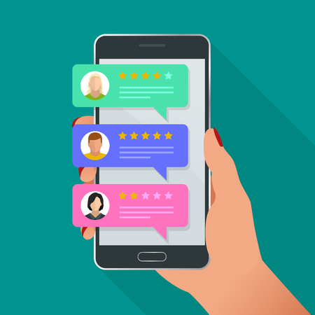 Customer reviews. Review rating on mobile phone, feedback vector illustration. Reading customer review in smart phone before buying products