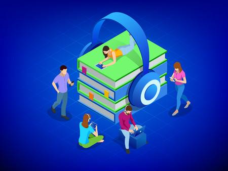 Casque isométrique avec des livres. Concevez le livre audio. Les gens qui écoutent un livre audio téléchargé sur un smartphone dans des écouteurs modernes assis en coworking. Illustration vectorielle moderne Vecteurs