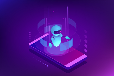 Isometric Artificial Intelligence. Chatbot and future marketing. AI and business IOT concept. Dialog help service. Vector illustration Ilustrace