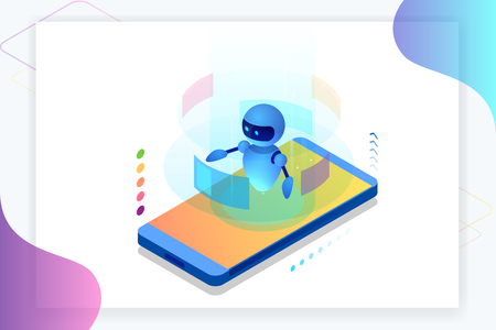 Isometric Artificial Intelligence. Chatbot and future marketing. AI and business IOT concept. Dialog help service. Vector illustration