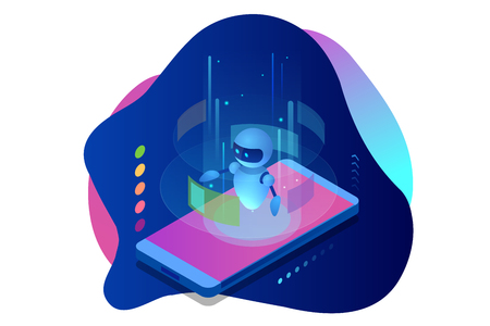 Isometric Artificial Intelligence. Chatbot and future marketing. AI and business IOT concept. Dialog help service. Vector illustration Ilustracja