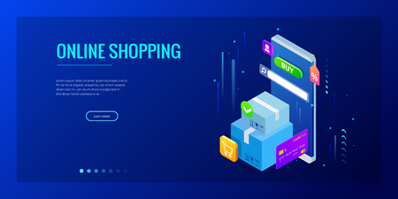 Isometric vector Online shopping concept. Landing page template. Modern ultraviolet design for a web page. Sale, consumerism, buy online and e-commerce concept