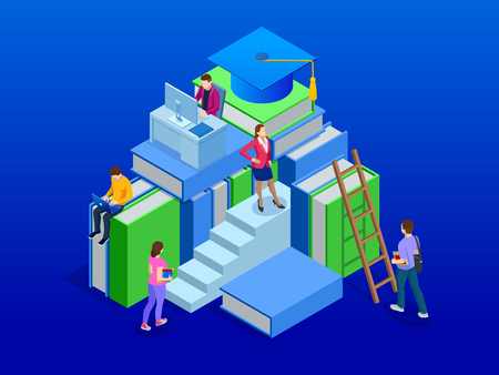 Isometric banner for web Education in Global world, online learning concept. Books step education. Vector illustration