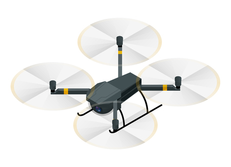 Isometric electric drone with video and photo camera for aerial photography isolated on white background vector illustration 写真素材