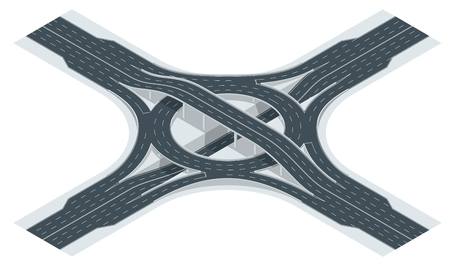 Isometric highway junction road and interchange overpass. Vector illustration 스톡 콘텐츠